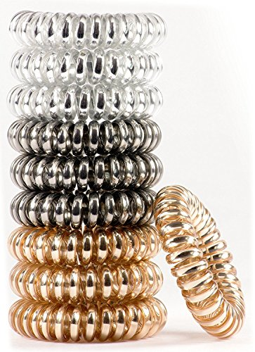 10 pack Painless PATENTED OOO Hair Ties. Ponytail holder spiral coil traceless hair bands. For all types of hair. LARGE SIZE (Metallics)