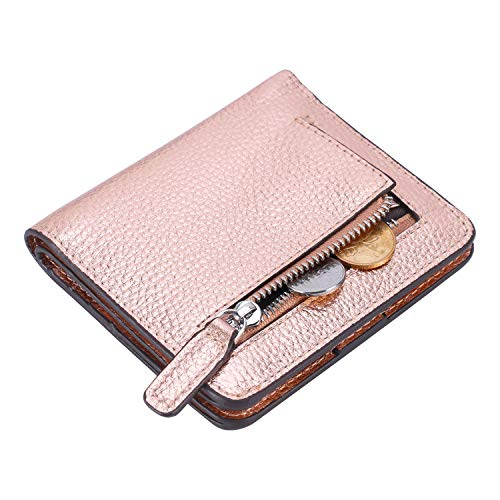 Lavemi RFID Blocking Small Compact Mini Bifold Credit Card Holder Leather Pocket Wallets for Women(Pebbled Champagne Gold)]()