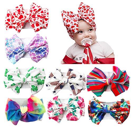 Xinshi Baby Girls Elastic Soft Hair Band Infant Bow Headbands Turban (XS-U1(8PCS))