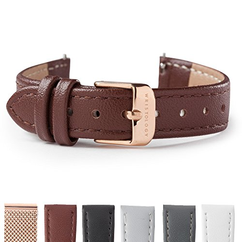 WRISTOLOGY Rose Gold 14mm Womens Easy Interchangeable Stitched Leather Watch Band (Brown)