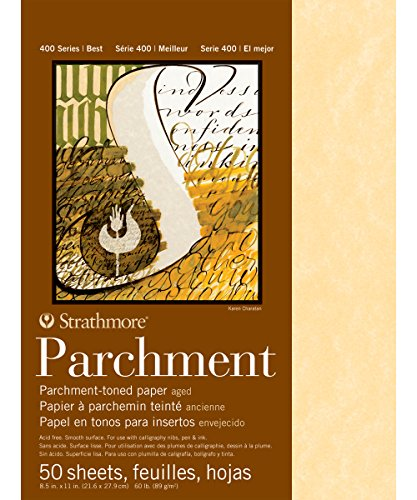 Strathmore 400 Series Aged Parchment Pad, 60 lb. Smooth Surface, 8.5 X 11 inches, 50 Sheets (406-1)