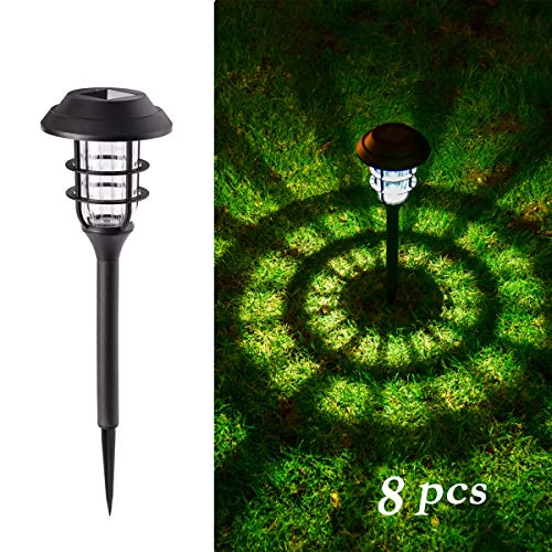 GIGALUMI 8 Pcs Solar Lights Outdoor Pathway, Waterproof Led Solar Lights for Lawn、Patio、Yard、Garden、Path、Walkway or Driveway. (Set Light Garden)