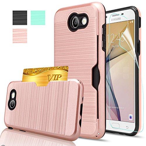 Galaxy J7 V Case, Galaxy J7 Sky Pro / J7 Perx /J7 Prime/Halo Case With HD Screen Protector,AnoKe[Card Slots Holder] Kickstand Plastic TPU Hybrid Wallet Case For Samsung J7 2017 KC2 Rose Gold