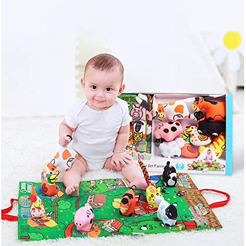 ColorHome(TM) Cloth Books for Baby-Soft Touch and Feel Educational Toy for Boy&Girl,Baby Gifts for Newborn Babies,1Year Old&Toddler(Farm - Set Farm Bb