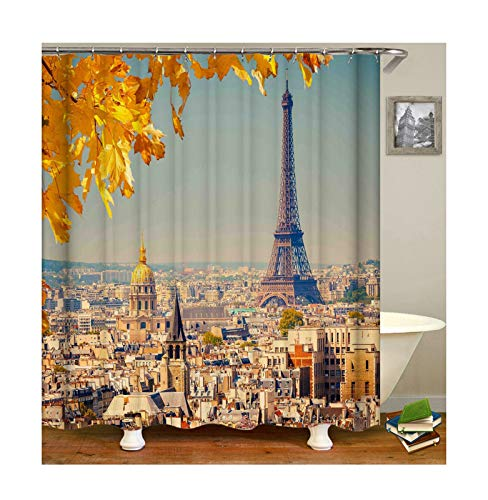 Gnzoe Polyester Eiffel Tower Buildings Pattern Shower Curtain 180x180CM (Nadia Husky)