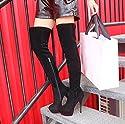 [トブイシューズ] ニーハイブーツ ロングブーツ レディース ブーツ 厚底 ストーム ブーツ レディース レッドソール ヒール ハイヒール 黒 スエード ニーハイ 靴 ブーツレディース ピンヒール ブーツ スエード 痛くない ジョッキーブーツ