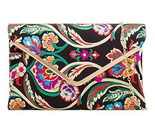 Floral Evening Women's Bag Black Women's Satin Embroidered Satin Clutch Multicolour CwqStnwxW
