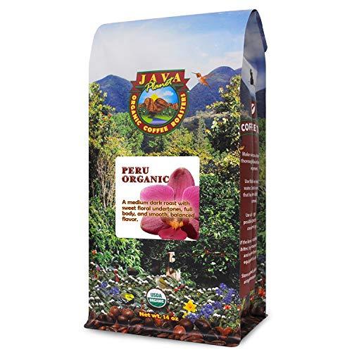 Java Planet - Organic Coffee Beans from Peru, Fair Trade, Medium Dark Roast, Arabica Gourmet Coffee Grade A, packaged in 14oz bag