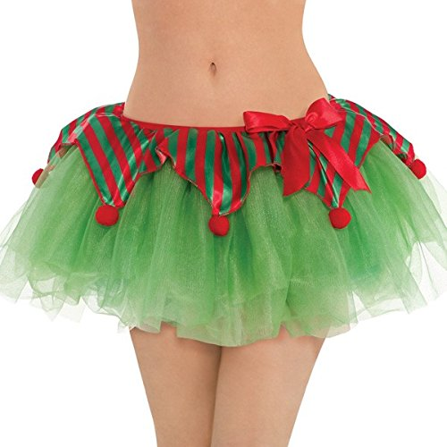 amscan Fun-Filled Christmas & Holiday Party Elf Tutu Apron (Pack of 1), Red/Green, One Size