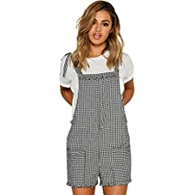 Women Straps Jumpsuits Outfits Overalls Shorts Pants Checkered Rompers Trousers Playsuits Casual Loose