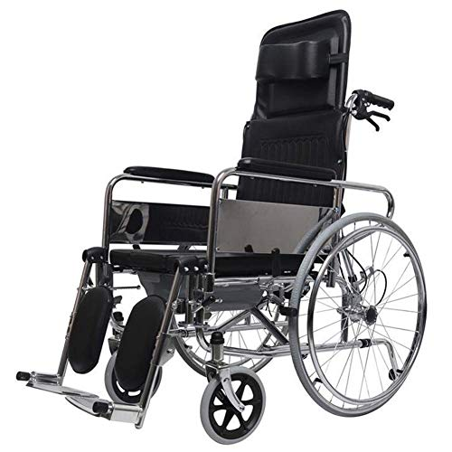 - Lightweight Folding Reclining Back Transport Chair, Full Arm Detachable Padded Flip Back, Elevating Legrests, Chrome Frame