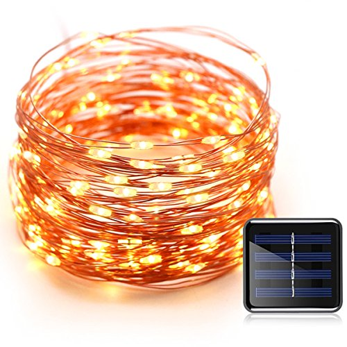 Konnoo Solar String Lights 100 LED Copper Wire Waterproof Starry Fairy Lights for Garden Patio Yard Bedroom Lawn Xmas Tree Party Holiday Wedding Decor (Warm White)