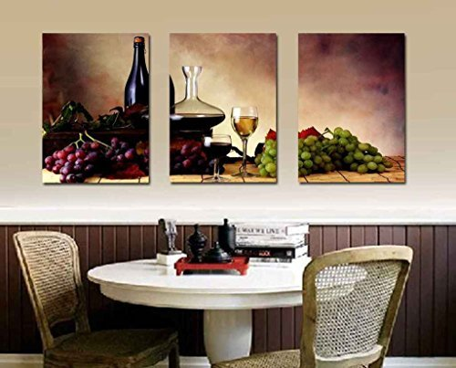 Spirit Up Art Grapes & Wine Home Decoration Canvas Print Modern Wall Painting Art set of 3 Each 40*60cm #06-JDX-14 (framed)