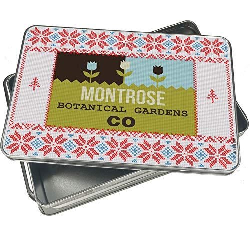 NEONBLOND Cookie Tin Box US Gardens Montrose Botanical Gardens - CO Vintage Christmas Pattern -