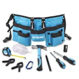 Hi-Spec 12 Piece Young Builder's Tool Set Tool Belt with Real Hand Tools, Accessories, Eye Protection and Tool Pouch (Waist 22''- 27'') for Home DIY, Carpentry and Woodworking Projects- Present
