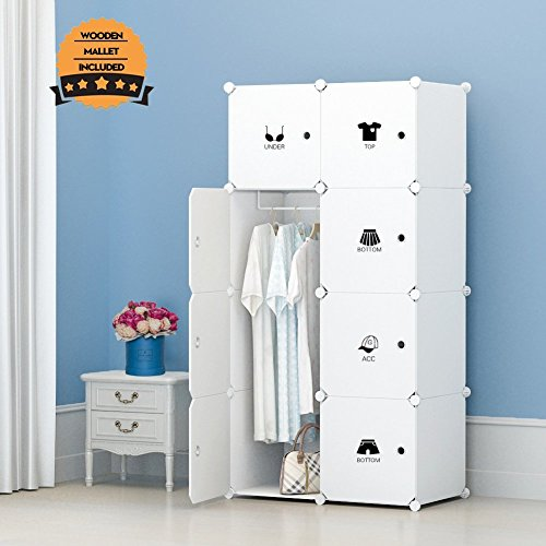 KOUSI Portable Clothes Closet Wardrobe Freestanding Storage Organizer With  Doors , Large Space And Sturdy Construction. White 8 Cube