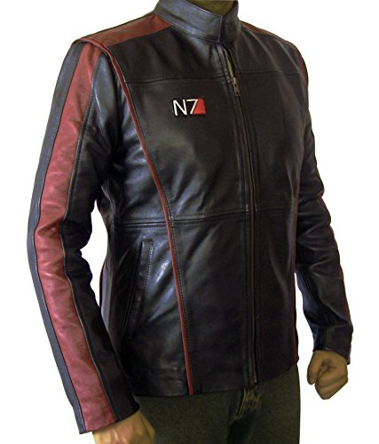 Rocket Pack Halloween Costume (Slim Fit Mass Effect Costume Black Leather Jacket For Father (Large))