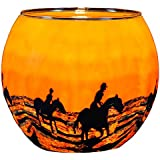 Plaristo Horses in the Sunrise Tea Light Holder with 11 cm Diameter Glowing Glass, Multi-Colour by Kerzenfarm