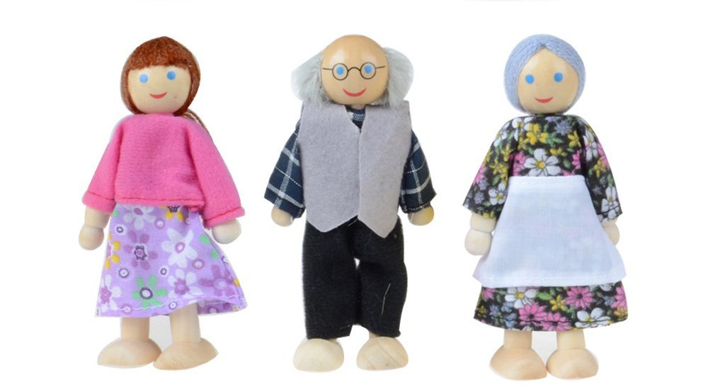 6PCS Jinjin Family Dolls Wooden Furniture Doll House Play Family Dolls Puzzle Infants /& Toddlers Toys Perfect for Children Playing Collect House Decoration