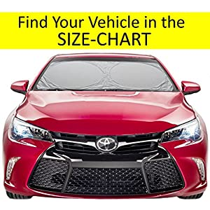 Windshield Sun Shade Suv Car Easy-Select Size Chart with Your Vehicle Windshield Universal Luxurious-210T Car Sun Shade Keep Vehicle Accessories Cool UV Sun and Heat Reflector Sunshade