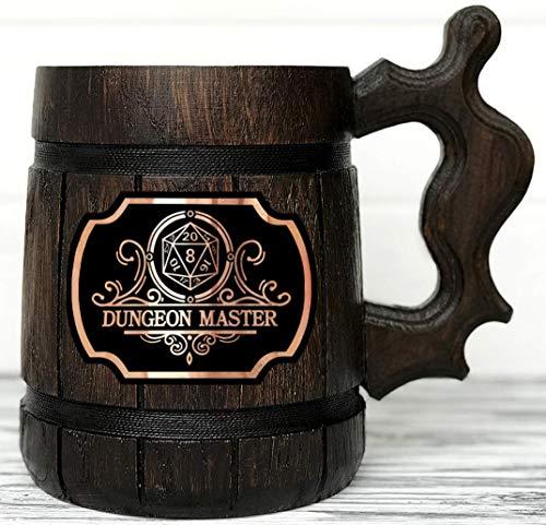 (Dungeon Master Beer Mug. Dungeon and Dragons Mug. Dungeon Master Stein. D&D Gift. Wooden Beer Stein. Best Gift. Wooden Beer Mug. Wood Beer Mug Gamer Gift Beer Tankard K145)