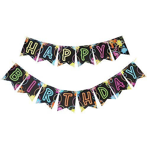 Glow In The Dark Happy Birthday Banner (Glow Party Jointed Banners, Glow Decorations, Birthday Party)