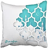 Throw Pillow Cover Square 18x18 Inches Blue Window Origami Kareem with Arabic Arabesque Holy Month of Crescent Moon Symbol Applique Polyester Decor Hidden Zipper Print On Pillowcases