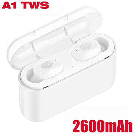 Bluetooth Earbuds, Wireless in-Ear Headphone Stereo Earpiece Earphone, Noise Canceling Mic, IPX5 Waterproof, Touch Control 2600mAh Charging Case for iOS and Android A1-White