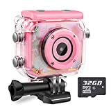 Waterproof Kids Camera Camcorder 12MP HD Kids Action Camera Video Recorder Underwater 32G SD Card - Birthday, Christmas, Festival Gifts for 4-12 Girls (Pink)