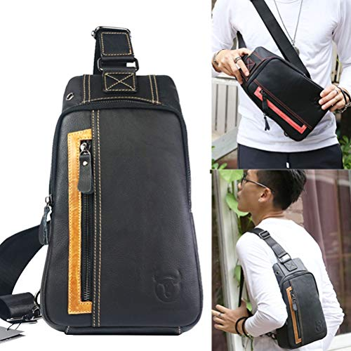 Daypack Men's Business Shoulder Leather Sling Travel Messenger Bag Chest 1 Genuine Black Sport Hiking 3 For Casual Black AXwnAx