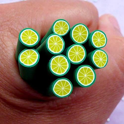 10pcs Green Lime Citrus Fruit Polymer Clay FIMO Slices Rod Canes Sticks Nail Art Manicure Scrapbooking Design Kawaii DIY Stickers Resin