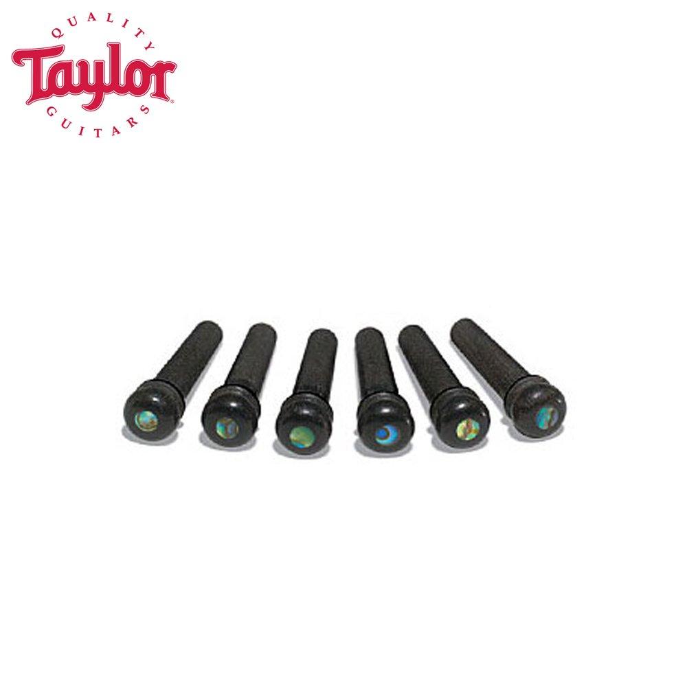 Taylor Guitars JB-80110 Ebony with Abalone Dot Bridge Pins, 6 Pack
