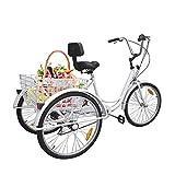 Ridgeyard 6 Speed 24 Inch 3 Wheel Adult Tricycle Bike Cycling Pedal Cruiser