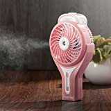 Insten Portable Handheld USB Mini Misting Fan With Personal Cooling Humidifier, Rechargeable Battery & Water Spray Fan for Music Festival, Traveling & Preventing from Heat Stroke, Pink