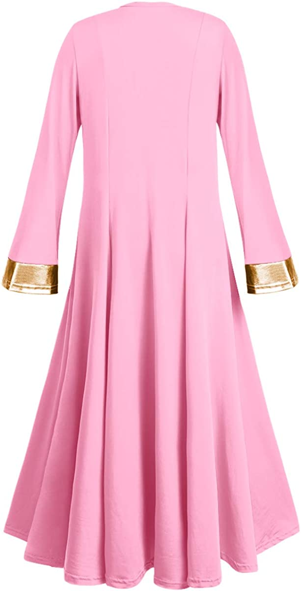 Girl Metallic Gold Praise Dance Dress Liturgical Church Worship Costume Bell Long Sleeve Full Length Lyrical Dancewear