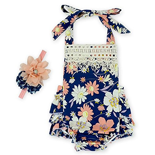 Price comparison product image D.LIN Baby Girl's Ruffles Tassel Romper Dresses+Headband Outfits Summer Clothing Flower 8 6 Months