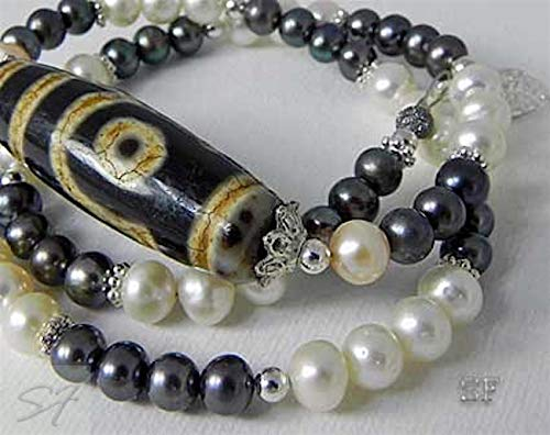 Necklace Choker Black White Pearl Bead Dzi two eyes Large Tibetan Dragon Skin Two Eyes Dzi Agate Bead for women