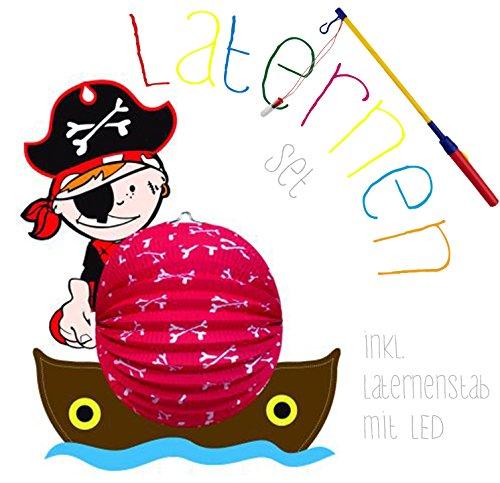 Idena Laterne / Lampion, ca. 44x35cm Set (Pirat, mit Laternenstab)