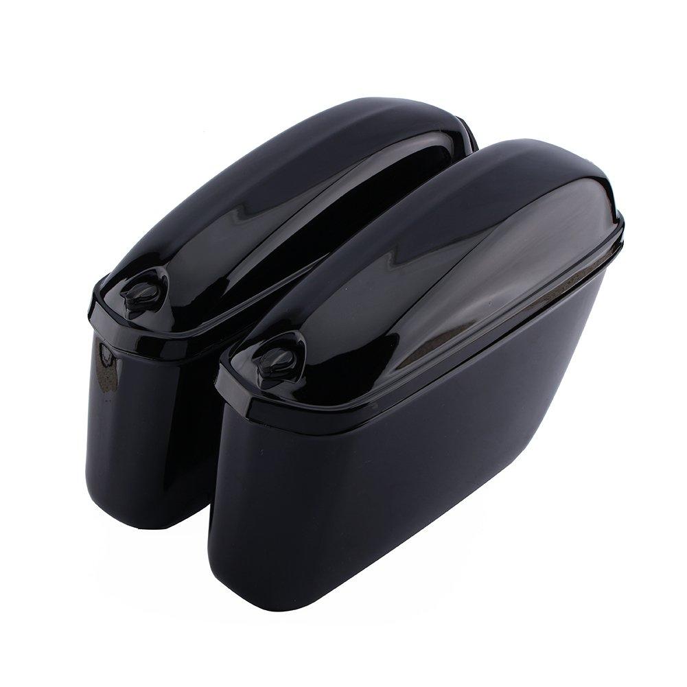A Pair Motorcycle Cruiser Hard Trunk Saddle Bag Box Side Luggage
