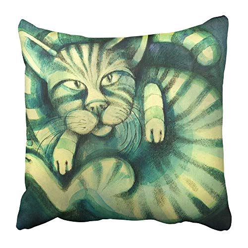 Throw Pillow Covers Print Fine Hand Made Painting of Dark Green Cat Oil Vintage Acrylic Animal Artistic Brush Canvas Polyester 18 X 18 inch Square Hidden Zipper Decorative Pillowcase