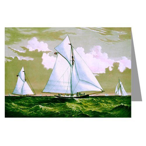 12 Note cards of Currier And Ives Handcolored Lithograph depicting the Americas Cup Race 1881 with yachts Mischief and Atlanta .