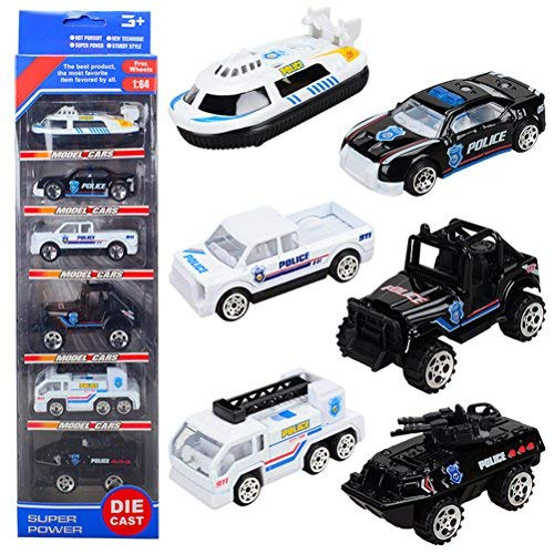 Mini Police Cars Alloy Models Pocket Size Racing Play Vehicles Die Cast Toy for Children Boys, 6 Pcs by TH Toys