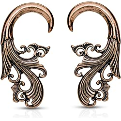 Pair of Tribal Spiral Ear Hanger Tapers - Antique Brass-Tone (6 Gauge (4mm))