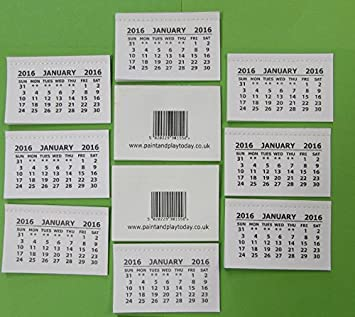 2016 Calendar Tabs Inserts White Mini Calender Pack of 25 Tear Off ...