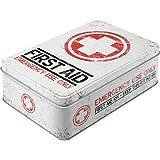 """Nostalgic Art Boîte en fer blanc plate style rétro pour kit de premiers secours Imprimé """"First Aid"""" 23 x 16 x 7 cm"""