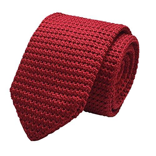 Elfeves Men's Skinny Knit Tie Vintage Smart Solid Color Formal Necktie for Groom (One Size, Dark (Sale Vintage Wool)