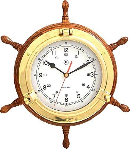 Bey-Berk International 13.5 in. Brass/Oak Ships Wheel, Clock - Tarnish Proof Bey Berk International Brass