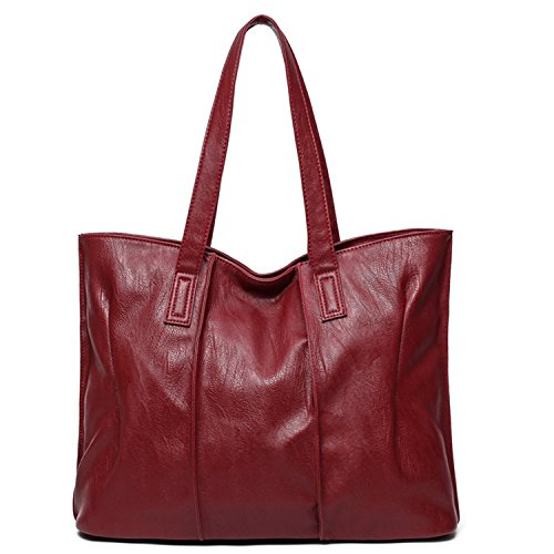 Availcx Bags Pu Leather High Capacity Women Shoulder Bags Top Handle Bags Burgundy