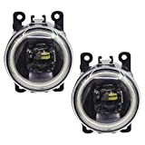 Cawanerl FD-FCS-2004-2015 Car Styling LED Bulb Front Fog Light Lens Angel Eye DRL Daytime Running Light 12V (white)