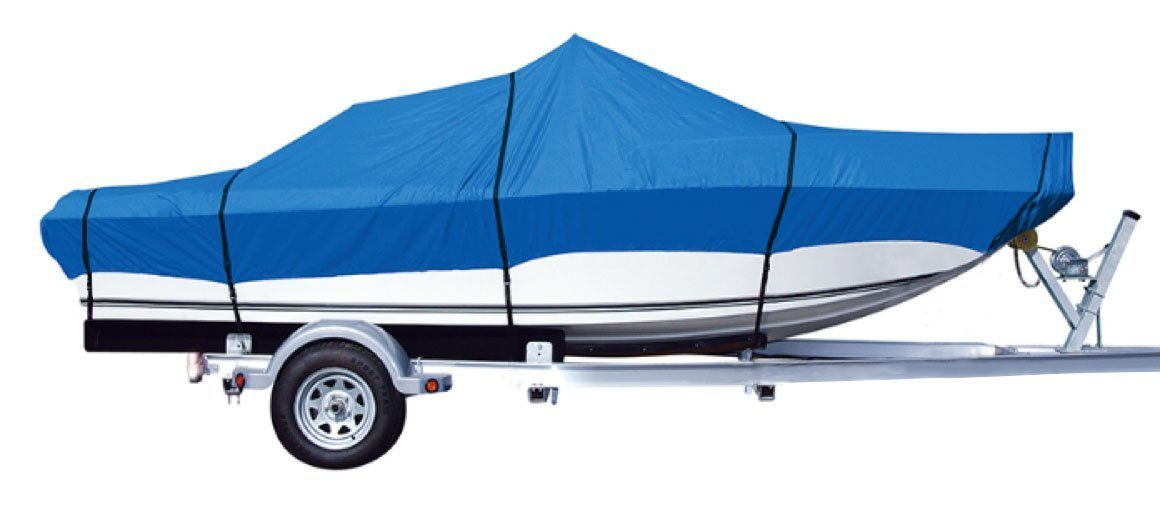 iCOVER Trailerable Boat Cover- Water Proof Heavy Duty,Fits V-Hull,Fish&Ski,Utiltiy Boat, Pro-Style,Fishing Boat,Runabout,Bass Boat,up to 17.5ft-19ft Long and 96''Wide,Blue Color,B6201D-1. by i COVER